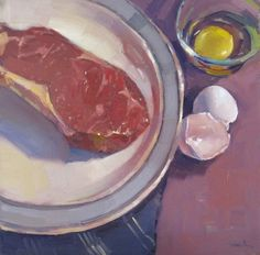 "Kitchen art oil painting ""Steak and Eggs no.2"" by Sarah Sedwick 10x10in"
