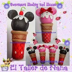 Cono Helado de Mickey Mouse y Minnie, también se puede usar como invitación a fiestas Infantiles, elaborado en Foami (Goma Eva).