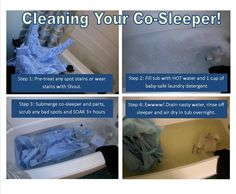 DIY Cleaning your co-sleeper / pack'n'play! Got this great slightly used co-sleeper and decided it needed a wash. So glad I did! Ewww! I did NOT soak the mattress section b/c I didn't want to ruin the pressboard sections. I did scrub it down with the soaped up super-hot water. It looks great and is ready for our little one!