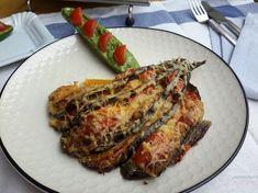 Een waar koolhydraatarm feestje op je bord zo'n prachtige aubergine waaier! Kan ook met courgette ;-)