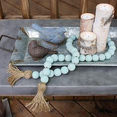 Home Interior Illustration Decor Hacks : Create this project with Vintage Effect Wash Make a garland of wooden beads as an on-trend accent with DecoArt Vintage Effect Wash. Wood Bead Garland, Beaded Garland, Wood Crafts, Diy Crafts, Felt Crafts, Passementerie, Wooden Diy, Wooden Decor, Hobbies And Crafts