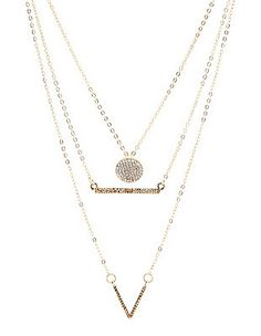 Chevron, Bar & Disk Layering Necklaces - 3 Pack: Charlotte Russe