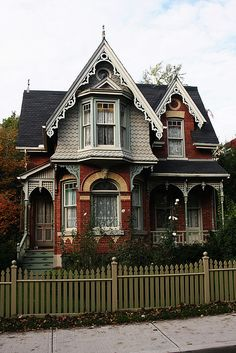 This classic Victorian house, across from Riverdale Farm, has all the details you expect to find in a Victorian home. Bay and Gable, wonderful gingerbreading and details in the brick and stone work.