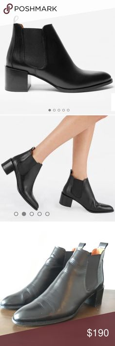 """The Heel Boot by Everlane in black Heeled, black ankle boots by Everlane. First two images are stock from the Everlane website, and the rest are the actual product you will receive.  Beautiful pre-owned condition. Always used with shoe trees to keep their shape after wear. Carefully cared for and regularly cleaned and polished to maintain the 100% Italian leather. 2"""" Stacked leather heel Made in Brescia, Italy Fits slightly snug. I am a true size 10.5, but they are still comfortable…"""