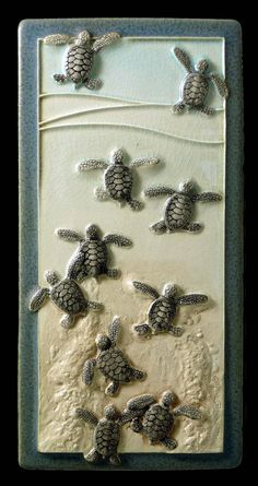 Ceramic wall art, Leaving the Nest,  4x 8 inches  Baby Green sea turtles on Etsy, $68.00