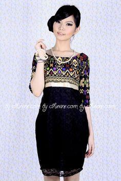 Batik Dress | Lace Dress | Dress Kebaya | Evanthe Ikat Dress | DhieVine | Redefine You