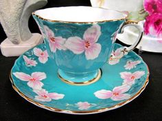 AYNSLEY TEA CUP AND SAUCER TEXTURED FLORAL PINK TEACUP PATTERN