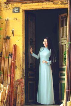 Light Blue Vietnam Ao Dai Custom Made Chiffon Dress, White Satin Pant