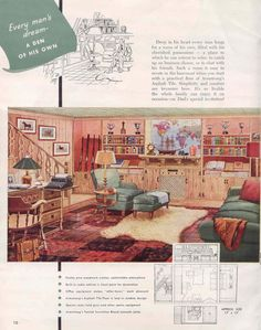 Welcome to your (vintage) man cave! Armstrong retro flooring ad files. Vintage Room, Vintage Men, Armstrong Flooring, Vintage Interiors, Retro Home, Mid-century Modern, Modern Houses, Country Girls, Living Room Decor