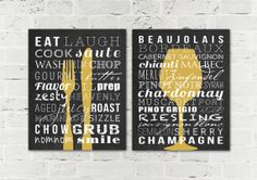 Kitchen Signs - Dining Room Decor Prints - Home Subway Art - Kitchen Wall Decor - Fork Knife Dining- Wine Wall Art - Set of 2 Art Prints on Etsy, $30.00