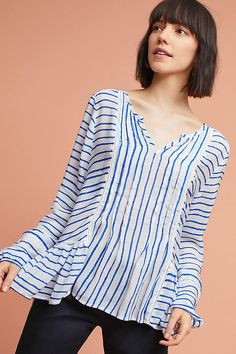 Slide View: 1: Striped & Tucked Blouse