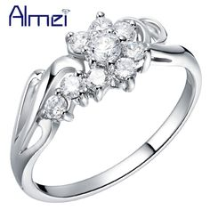 Find More Rings Information about Rings for Women Silver 925 Wedding Jewelry Fashion Vintage Flower Crystal Ring Cute Gift Wholesale 2015 New Ulove J254 ,High Quality ring saw,China ring bottle Suppliers, Cheap ring magic from Almei Jewelry Store on Aliexpress.com