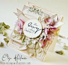 Sumptuous shabby chic / vintage Spring / Easter handmade Card by Olga with Lilly of the Valley