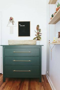 Love dressers for changing tables in nurseries. You get years of use! I love the handles on this one!