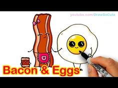 How to Draw Cartoon Bacon and Eggs Breakfast Cute and Easy