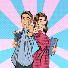 Find Couple Students Books Man Woman Gesturing stock images in HD and millions of other royalty-free stock photos, illustrations and vectors in the Shutterstock collection. Desenho Pop Art, Elementary Art Rooms, Pin Up, Pop Art Women, Student Resume, Retro Pop, Face Characters, Illustrations, Pop Fashion