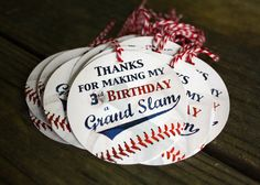 BASEBALL GIFT TAGS – Any Age – party favors – custom text – or 3 inch circle – Blue or Red Twine – Custom Requests Welcome – Custom Text – Back to School Crafts – Grandcrafter – DIY Christmas Ideas ♥ Homes Decoration Ideas Baseball Theme Birthday, Sports Birthday, 3rd Birthday Parties, Boy Birthday, Birthday Ideas, Sports Party, Third Birthday, Bat Illustration, Baseball Gifts