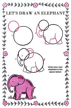 How to Draw an Elephant Kids Drawing Lesson.