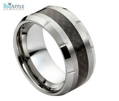 Double Accent His Her 10MM Comfort Fit Tungsten Carbide Wedding Engagement Band Carbon Fiber Inlaid Ring 5-15
