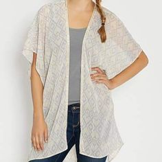 Host Pick NWT Maurices kimono style cardigan L/XL New with tags ✨ super gorgeous and the colors are beautiful and perfect for spring/summer, has a shimmer beaded detail and a shimmer of gold within the material, this is a longer styled cardigan so it'll come past your butt, no flaws, no trades Maurices Sweaters Cardigans