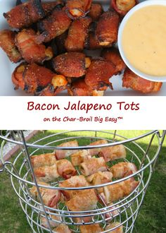 Oh yes, I've made bacon-wrapped tater tots on the Char-Broil Big Easy. Several times. And I love them. Lots. But, if you follow this blog, you know I like some kick to my tots. Hence these bacon jalapeno tots. Same concept, but with some heat. Not a whole lot, but enough to be noticed. Served with a great creamy cheese sauce that also has a bit of a kick to it.
