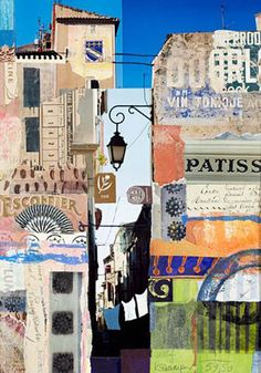 Vin Tonique paper collage 46 x 32 cm Collage Kunst, Paper Collage Art, Paper Art, City Collage, Collage Techniques, A Level Art, Buy Paintings, Mixed Media Collage, Art And Illustration