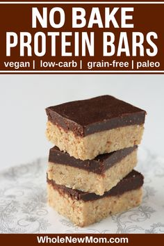 These Homemade Protein Bars are sugar soy grain dairy and egg-free but loaded with yumminess! Stop spending a fortune on store-bought bars and make your own :)! No Bake Protein Bars, Vegan Protein Bars, Protein Bar Recipes, No Bake Bars, Protein Snacks, Keto Snacks, Snack Recipes, Homemade Protein Bars, Chocolate Protein Bars