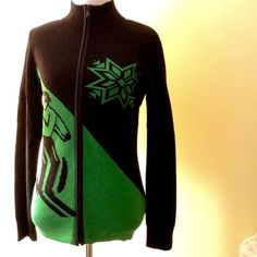 Lauren: Ralph Lauren, zipper cardigan sweater Black with lime green skier & snowflake graphics on front. Solid black back. 100% cotton body with zipper trimmed in poly. I did notice the zipper is sticking a little, but I just take care not to unzip it fully and find it works just fine. Priced accordingly. Seriously cute for apres ski or just to show your  love of skiing!! Preppy, fun and all RL!! Ralph Lauren Sweaters Cardigans