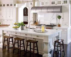 White and Marble Kitchen Island