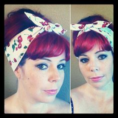 Cherries on White one sided WIDE Headwrap Bandana Hair Bow Tie 1950s Vintage Style - Rockabilly - Pin Up - For Women, Teens