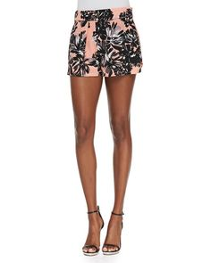T932P Rebecca Taylor Splashy Floral-Print Silk Shorts for your vacation 2015.
