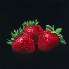 staged strawberries and The Pastel Journal, painting by artist Ria Hills