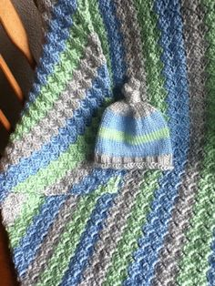 COMBO LISTING Snuggle Bug Diagonal Stripe Blanket and Matching Hat Combo on Etsy, $85.00