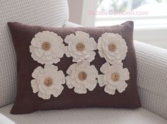Home Decor Decorative Pillow Cover Fabric Flowers by BubbleGumDish.com