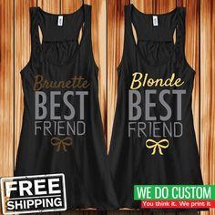 Brunette and Blonde Best Friend Tank Tops - Cute Matching Tank Tops for BFFs #BellaCanvas #TankTop