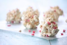 Sugar free marshmallow popcorn balls.  I think I might try adding some freeze-dried fruit to them and maybe try using puffed millet or rice krispies to make a healthier version of Envirokidz rice krispy fruit bars.