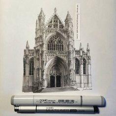 Lorenzo Concas Illustration of Notre Dame du Sablon