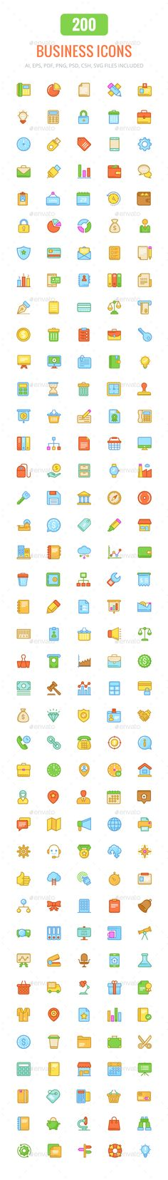 200 Business Colored and Line Icons