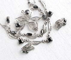 SALE - Vintage Sterling Silver Hematite Filigree Jewelry Parure - Necklace, Brooch, Clip On Earrings, & Bracelet Hallmarked Sorrento Set by Maejean Vintage on Etsy, $92.00