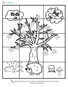 Puzzle - podzim, předškoláci Kindergarten, Puzzle, Comics, Sons, Projects, Puzzles, Riddles, Kindergartens, Comic Book