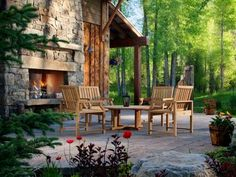 Patio Design With Outside Fireplace And Patio Furniture Also Outdoor Lantern With Outdoor Stone Fireplace Kits And Outdoor Propane Fireplace Plus Wood Siding With Exterior Wall Lighting And Lawn