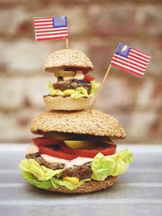 I couldn't possibly leave the great American burger out of this book. Sadly, the classic burger has gone from humble beginnings (as something brought over by German immigrants) to become a symbol of fast food and junk. But when made at home with quality ingredients, it's an absolute joy. So, introducing my great American burger, and its little cousin, the 'slider', or mini burger . . . Have fun with your toppings and flavour combos and enjoy.