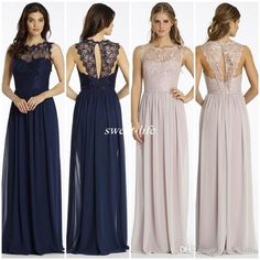 New Design Lace Bridesmaid Dresses Long Navy Blue Chiffon Backless Sheer Bateau…