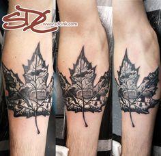 Maple leaf tattoo with hockey and animals. by sonia debenetti-carlisle Sport Tattoos, Trendy Tattoos, New Tattoos, Tattoos For Guys, Tattoos For Women, Cool Tattoos, Hockey Tattoos, Tatoos, Brother Tattoos