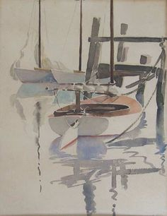 "Doris & Richard Beer (1898 - 1967 & 1893 - 1959) watercolor on paper ""Sailboats Tied Dockside"", pencil signed lower right DR Beer, with additional unfinished watercolor on reverse 14 in. x 10.5 in."