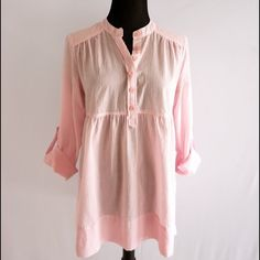 Michael Kors button down tunic in pale pink In excellent condition! Super cute 💟 pale pink color, baby doll style button down. Michael Kors Tops