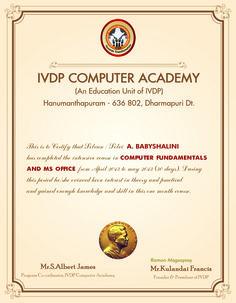 IVDP Certificate