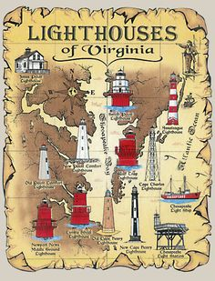 virginia lighthouses | ThisT-Shirt features the thirteen lighthouses of Virginia