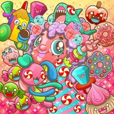 Dare to Dream of Candy on Behance Kawaii Doodles, Kawaii Art, Graffiti Doodles, Psychedelic Drawings, Bright Wallpaper, Doodle Art Drawing, Drawing Expressions, Doodle Coloring, Principles Of Art