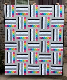 Sweetart Quilt Pattern PDF, Modern Quilt Pattern, Quick Easy Simple Beginner Quilt, 2 sizes in Lap and Twin, Strip Piecing – Sewing Projects Patchwork Quilt Patterns, Modern Quilt Patterns, Quilting Patterns, Quilting Ideas, Strip Quilt Patterns, Easy Patterns, Simple Quilt Pattern, Loom Patterns, Pattern Ideas